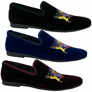 Mens Italian Velvet Logo Embroidery Loafers Shoes Moccasin Slip On Designer New