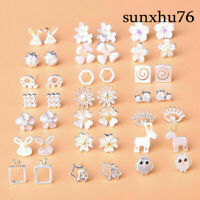 925 Silver Statement Women Stud Earring Flower Animal Cute Gift Anti Allergy