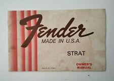 Vintage original Fender Strat early 80´owners instructions manual