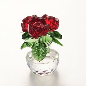 Beauty & Beast Crystal Glass Red Rose Flower Figurines Home Decors Wedding Gifts