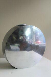 Polished Aluminum No Tag VASE Silver Round Monumental Disc India ~ Nambe ?