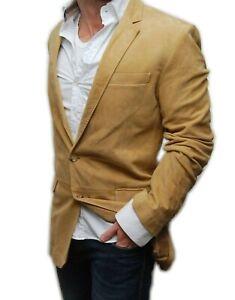 $2495 Ralph Lauren Black Label Mens Suede Leather Blazer Jacket Italy Beige 40L