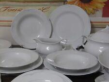 Eßs.-Speiseservice 6 Ps. Seltmann Weiden weiße Blümchen-blau/graues Rautendekor
