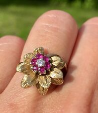 14K Gold Red Ruby Anemone Flower Diamond Center Floral Antique Vintage Ring
