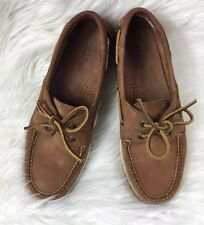 LL Bean Womens Slip-on Boat Deck Shoes Mocassins Brown Leather Size 7.5M