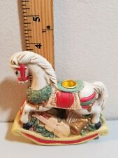"Rocking Horse Porcelain Candle Holder in original box 4"" tall. *Christmas*"
