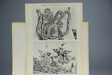 Antique ca1900 Print Chinese Art PL-71-72 Teapot & Tile Porcelain China Qing
