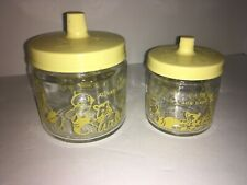 Vintage 60's Round The Clock With Baby Nursery Jars Set of 2 With Lids
