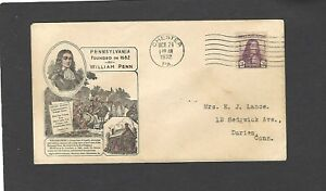 #724 3c WILLIAM PENN ISSUE FDC-CHESTER,PA OCT 24-1932-IOOR CACHET