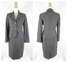 Calvin Klein Womens Solid Gray Brown Skirt Suit Size 6 Business Formal Career