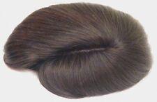 MENS HUMAN HAIR TOUPEE MALE STRAIGHT WIG HAIRPIECE MESH BASE POLYURETHANE EDGE