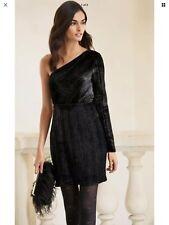 BNWT NEXT Black crushed Velvet sparkle one shoulder Dress 16 TALL  rrp £60