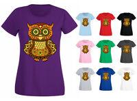 Womens Sugar Owl Decorated Colourful Tattoo Style Bird T-shirt NEW UK 6-18