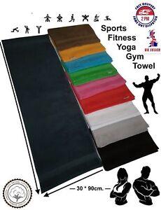 1x Charcoal / Sports Gym Yoga Towel /100%Cotton Soft Uni-Colour / Border 30 x 90