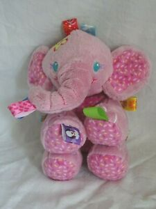 """Pink Elephant Taggies Tag And Play Pals Rattle Soft  CuddlyToy 10"""""""