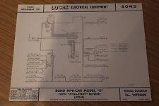 Bond MINICAR modello e 1957/8 ORIGINALE LUCAS diagramma di cablaggio delle apparecchiature elettriche