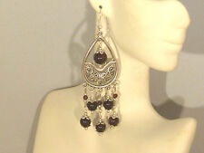 Gemstone Earrings - Garnets w/ 925 Sterling Silver - long chandeliers / drops
