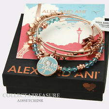 Authentic Alex and Ani I love You Set of 3 Expandable Charm Shiny Rose Bangle