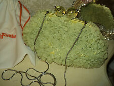 FOLLI FOLLIE MESSENGER CROSSBODY HANDBAG/CLUTCH *SATIN & TULLE LIGHT GREEN*CHAIN