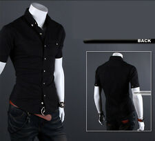 Men's Short Sleeve Button Down T-shirt Tops Slim Fit Casual Stylish Dress Shirts