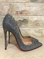 NIB Christian Louboutin So Kate 120 Silver Glitter Disco Ball Heel Pump Shoe 35