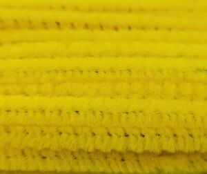"""Box of 100 Yellow 12"""" Long x 1/4"""" 6mm Wired Pipe Cleaners Craft Chenille Stems"""