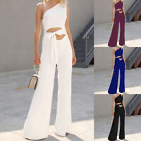 Womens OL One Shoulder Cut Out Flared Wide Leg Pants Lace Up Jumpsuit Trousers