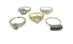 Large Sizes Rings Bundle Job Lot Of 5 Sparkly Size Y Z+1 Solitaire Style Ring