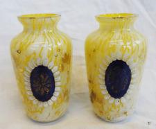 Pair of Antique Czech / Bohemian Splatter Glass Vase Vases with Enamel Panels