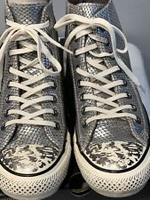 Converse All Star Women's High Top Silver Textured Leather Fashion Sneakers 8.5B