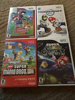 Nintendo Wii Lot Of 4 Complete Mario Games Super Slugger, Kart, Galaxy 1, Bros.