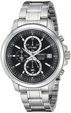 Seiko Quartz Chronograph Black Dial Stainless Steel Men's Watch (SKS445)