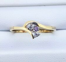 9K Diamond and Amethyst Dress RING_375 yellow gold