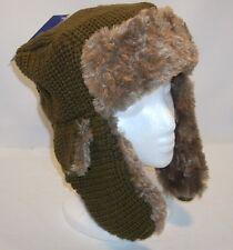 Grand Sierra Knit Faux Fur Trim Trapper Bomber Aviator Medium Brown Hat Cap