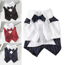Pet Dog Suits T Shirts Clothing Stripes Wedding Bow Ties Buttons Small Cat Puppy