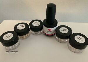 Nailite Chrome Powders Gold,Purple,Red,Silver,Blue and Chrome Top Gloss