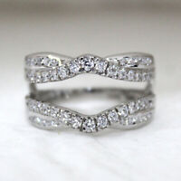 1.00 Carat Diamond Engagement Enhancer Wedding Wrap Band Ring Sterling Silver