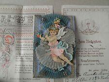 3 Teile alter Taufbrief Netzschau? 1889 Engel Oblate