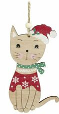 Cat Hanging Wooden Christmas Decoration