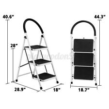 3 Step Aluminum Ladder Folding Steel Step Stool For Kitchen Cleaning 500lbs Load