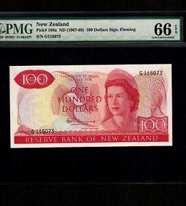 New Zealand 100 Dollars 1967-68 P-168a * PMG Gem Unc 66 EPQ * Queen Elizabeth *