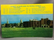 1966 University of NOTRE DAME FOOTBALL Schedule VINTAGE Postcard Fighting IRISH