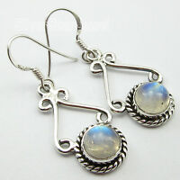 925 Sterling Silver Real ROUND RAINBOW MOONSTONE Earrings ANTIQUE LOOK Jewelry