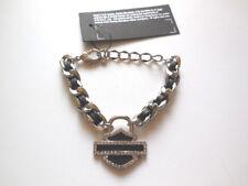Harley Davidson Damen Armband Charmed Leder Geschenkbox Crystal HDWCU11396