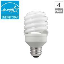 CFL Light Bulb T2 Spiral Soft White 75 Watt Equivalent Household Lights 4 Pack