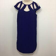 """DVF DIANE VON FURSTENBERG """"ACHAVA"""" Purple Cutout Shift Mini Dress Size 6 $398"""