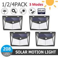 1/2/4X 208 LED Solar Power Wall Light Motion Sensor Garden Outdoor Security Lamp