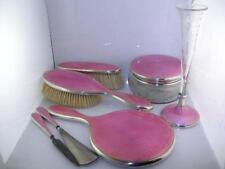 Fabulous Sterling Silver & Guilloche Enamel Dresser Set by Theodore B Starr