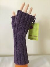 HAND KNITTED  LADIES  PURPLE WOOL-ALPACA CABLED PANEL  FINGERLESS GLOVES