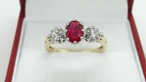Vintage 9ct Yellow Gold 1.25ct Synthetic Ruby and Cubic Zirconia Trilogy Ring